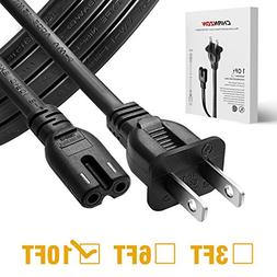 Chanzon 2 Prong 10 ft AC Power Cord for Samsung TV,Sony PS4
