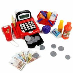 Cash Register Toy For Kids Pretend Play Light  Sounds With S