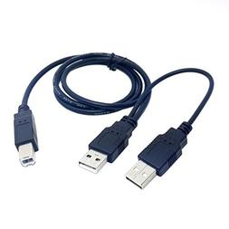 Dual USB 2.0 Male to Standard B Male Y Cable 80cm for Printe