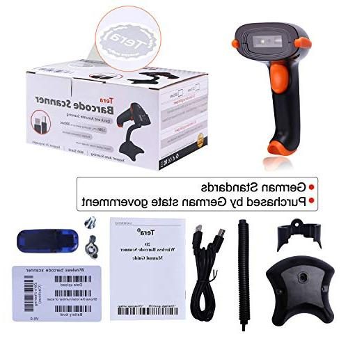 Tera Barcode 1D QR Scanner Cordless CMOS Reader for Payment Barcode with