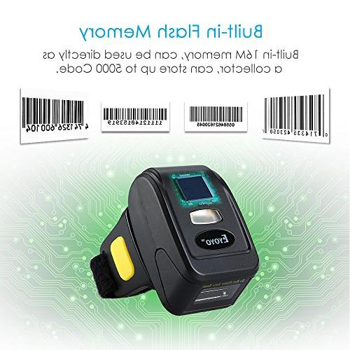 Eyoyo 1D Wireless Barcode Bluetooth Function Wireless Wired Portable Wearable Mini Bar Reader with Mac Android