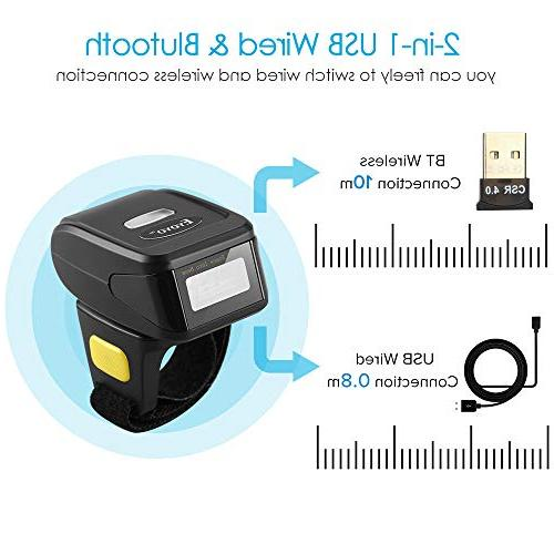 Eyoyo Barcode Bluetooth Function Wireless & Wired Portable Wearable Mini Finger Bar Code Reader with Android