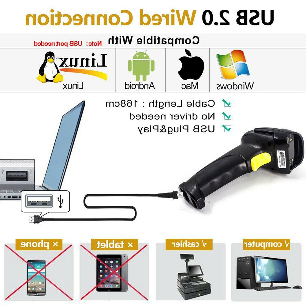 Portable USB Barcode Scanner Code Reader POS