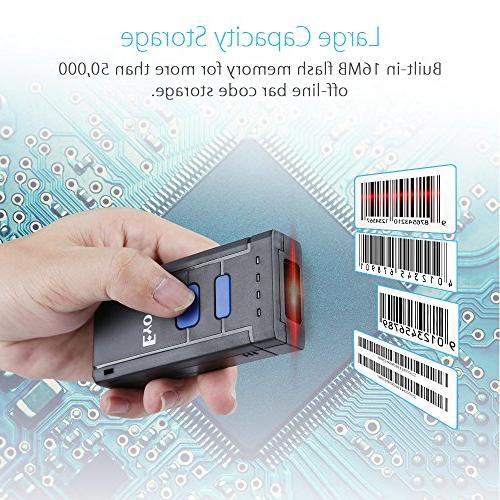 Portable & 2.4G Wireless Bluetooth Barcode Scanner, Mini Handheld CCD Barcode Reader for iPhone, Android Phones, Tablets or Computers with