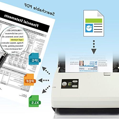 Plustek duplex Document Scanner: Sheet Auto Document Feeder searchable by Abbyy OCR. Mac and