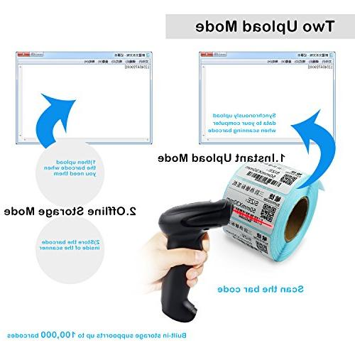 USB Wireless Barcode Handheld Laser Barcode Reader with up 10000