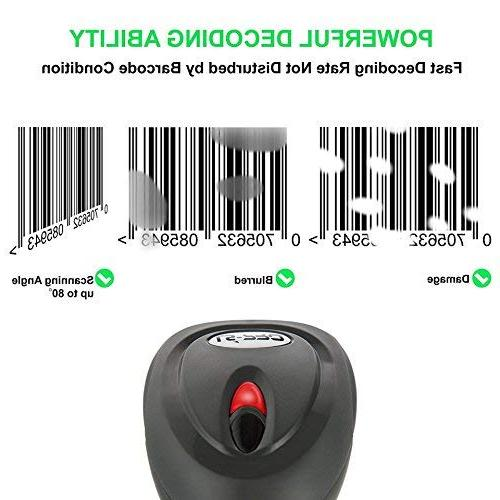 LS-PRO Wireless Barcode Scanner with USB Cradle Charging 1D Reader, to Transmission Range, Battery 2200mAh, 1 Year