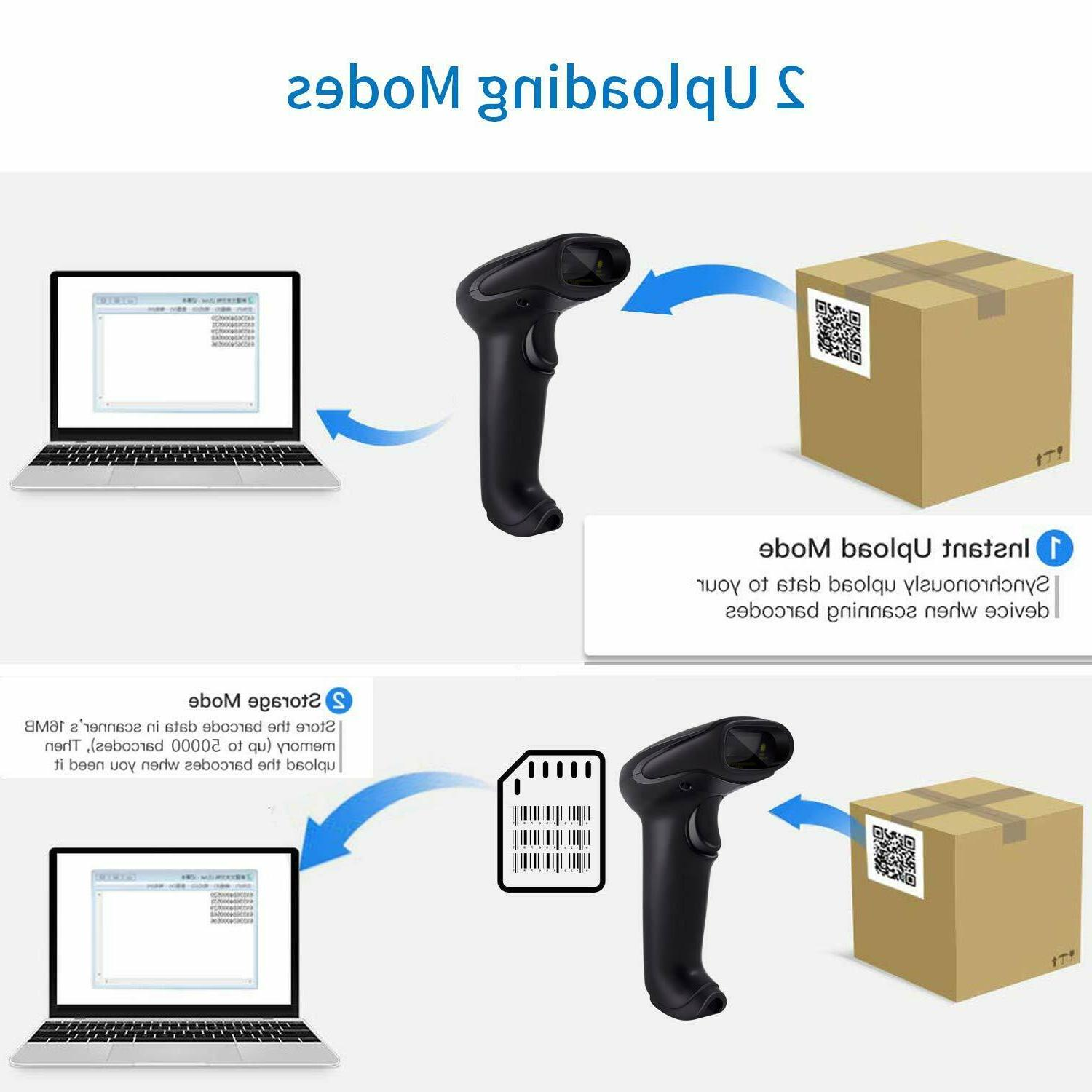 Wireless Barcode Scanner USB Laser Rechargeable