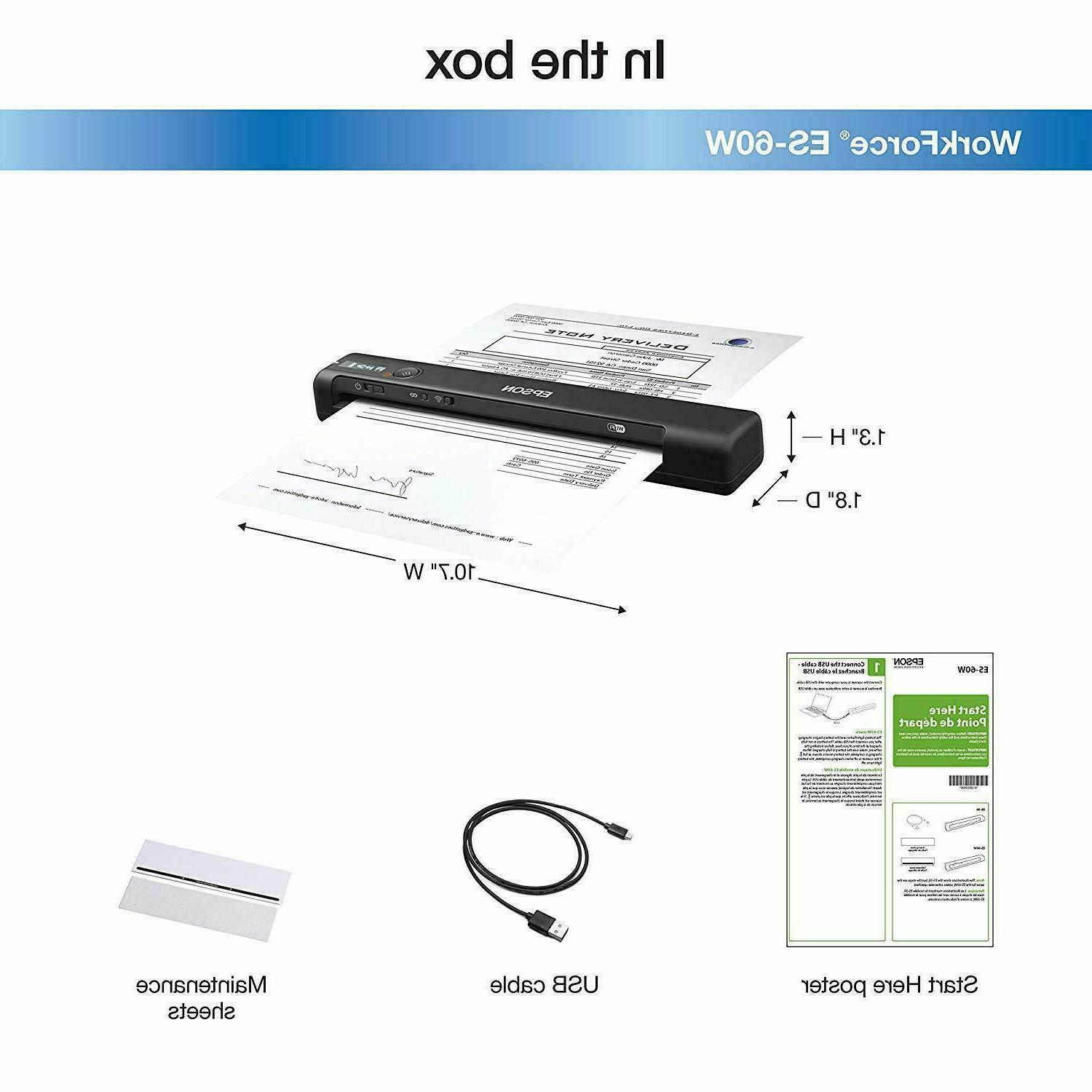 Epson ES-60W Wireless Portable Sheet-fed Scanner for PC sale