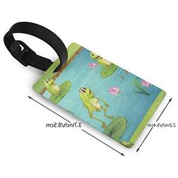 Luggage Tags Custom Cute Frog Water Lily PVC Suitcase Labels