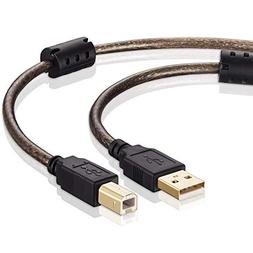 Tan QY Printer Cable 30ft, USB 2.0 High Speed Gold-Plated Co